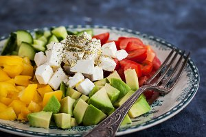Fresh vegetables and feta salad
