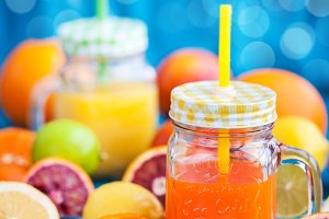 Citrus vitamin juice in mason jars