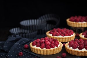Delicious raspberry mini tarts