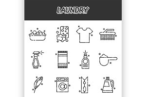 Laundry cartoon concept icons