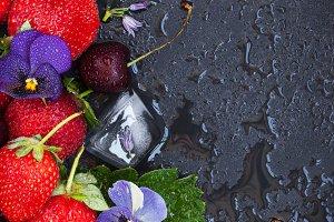 Summer ripe strawberry and cherry