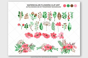 Floral Watercolor Clip Art Set