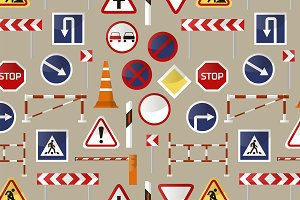 Road barriers and signs pattern