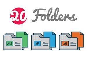 Flat folder icons