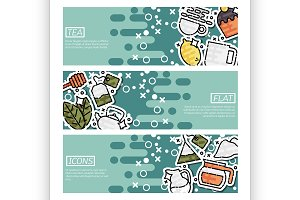 Set of Horizontal Banners about tea