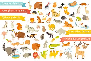 Animals illustration vector bundles