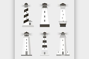 cartoon flat lighthouses
