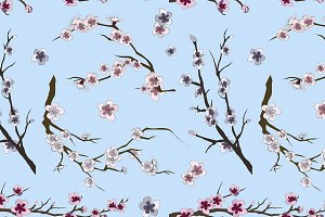 Set of sakura japan cherry pattern