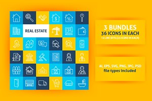 Real Estate Line Art Icons