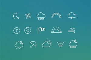 15 Weather Line Icons