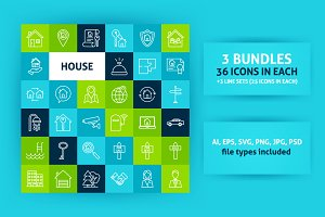 House Line Art Icons