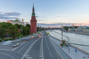 Sunset over Moscow Kremlin, Russia