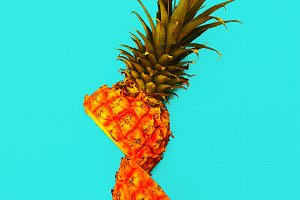 Cut pineapple. Tropical style