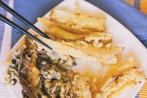 Homemade vegan tempura