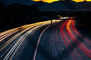Car Light Trails on the Freeway