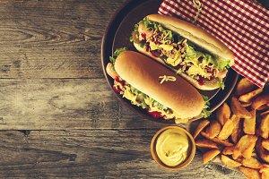 Classic American junk fast food