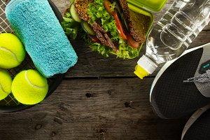 Conceptual sport healthy food top