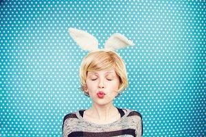 Cute human bunny