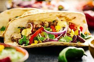 Closeup of tasty Mexican tacos