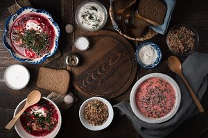 Dishes of traditional Russian cuisine on the wooden table horizontal