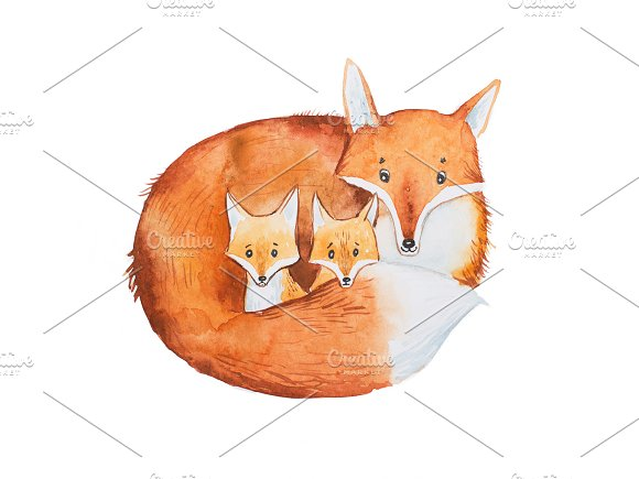 Drawing Of Cute Fox Family Mother And Two Fox-cubs