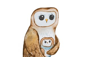 Cartoon owl mother covering owlet with wings sitting on tree branch hand-drawn