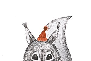 Hand-drawn portrait of cute black-and-white squirrel wearing a little red hat and holding acorn