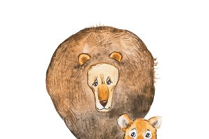 Watercolor illustration of lion and the cub sitting together looking at each other. Idea for father s day card.