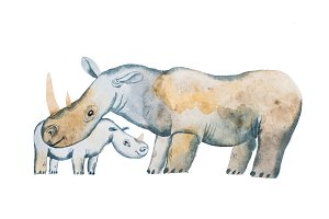 Two hippos drawn with watercolors. Mother s day card idea. Hippopotamus and a baby