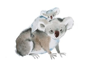 Handwork picture of koala bear with baby on the back