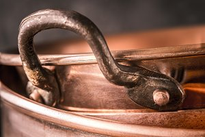 Copper pan on the blurred background