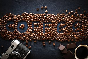 Coffee word made by coffee beans