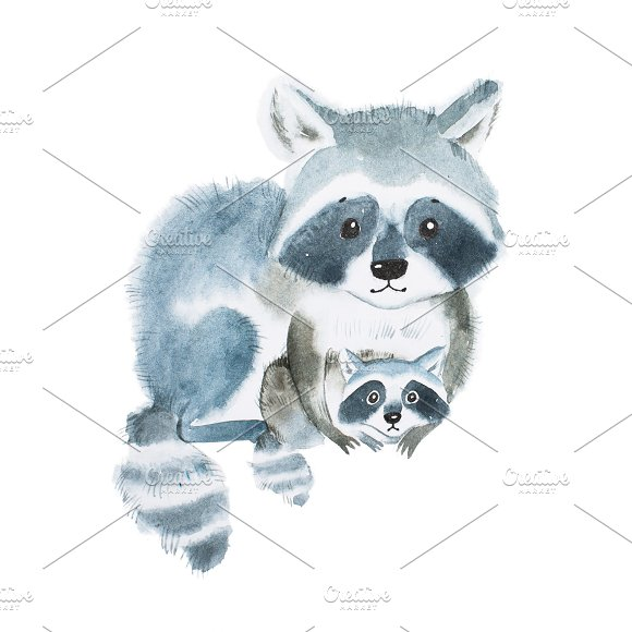 Cute Fuzzy Raccoon Family Mother Warming Her Little Baby Artwork Created With Watercolor Technique