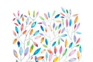 Watercolor painting of thin tree branches with multicolored leaves