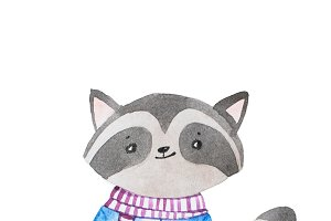 Hand drawn cartoon character. Shy cute little baby raccoon wearing scarf and shirt holding a flower