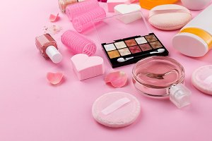 Closeup of make up care products