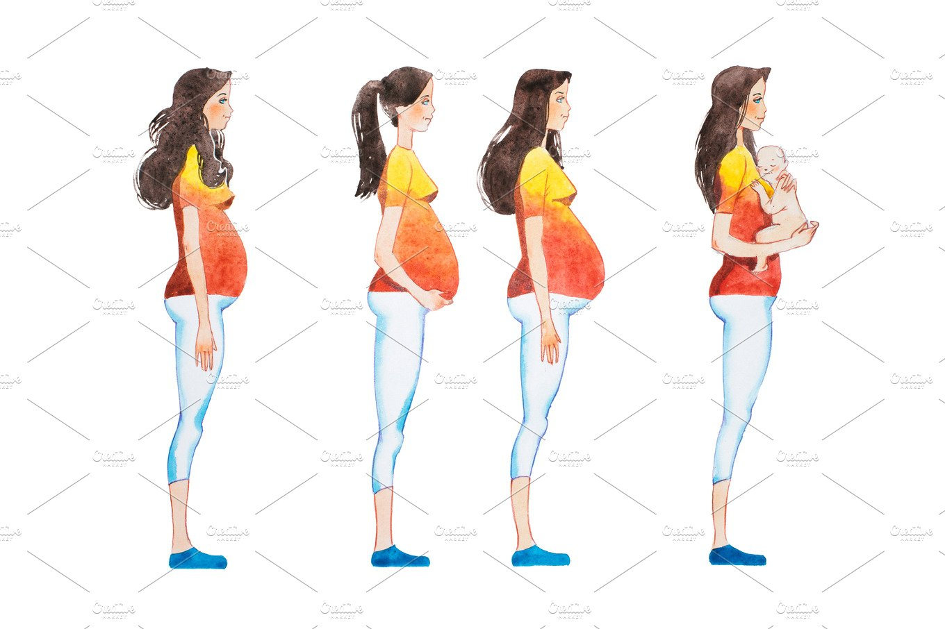 Cartoon illustration of pregnancy stages. Side view image ...