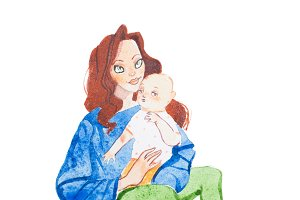 Loving mother holding babies hand drawn with watercolors