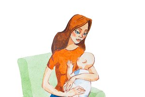 Cartoon mother hugging a baby. Aquarelle illustration of motherhood concept
