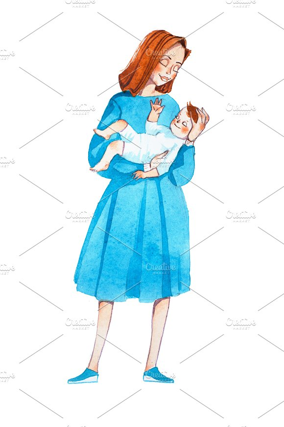 Young Mom Lulling Her Baby To Sleep Hand-drawn Cartoon Mother With Infant