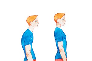 Watercolor illustration of people with right and wrong posture. Man with normal healthy spine and abnormal sick spine in comparison