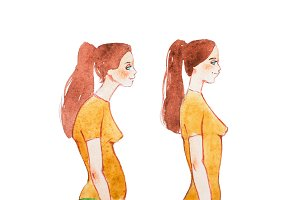 Watercolor illustration of people with right and wrong posture. Woman with normal healthy spine and abnormal sick spine in comparison.