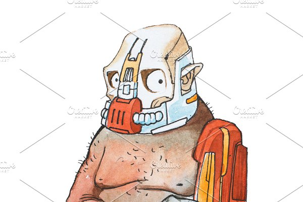 Hand-drawn comic character. Watercolor sketch of cyborg man with robotic mask and prosthetic robot arm used as a weapon.