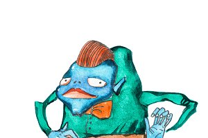 Watercolor illustration of blue humpbacked cartoon monster wearing smart clothes shirt, bow tie and trousers
