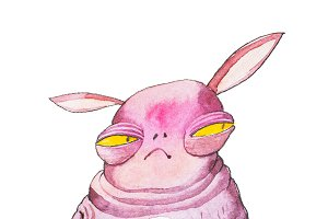 Pink cartoon monster with yellow eyes and long ears looking suspicious sitting on chair holding a cup