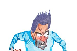 Aquarelle drawing of furious cartoon man standing in attacking or threatening pose