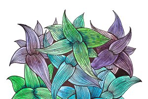 Bouquet of leaves painted with related pastel green, blue and purple colors. Top view of wild plant hand-drawn with watercolors