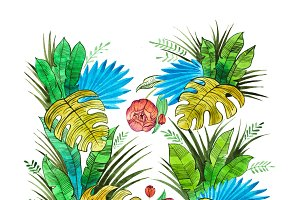Watercolor illustration of botanical composition made of tropical leaves and flowers.