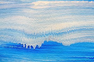 Acrylic stripe pattern with blue and white waves
