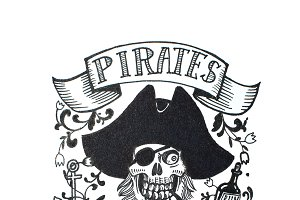 Black and white hand drawn sketch of pirate s skull in cocked hat and piratic symbols and labels